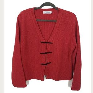 Willow Knitted Sweater Red Black Cloth Buttons